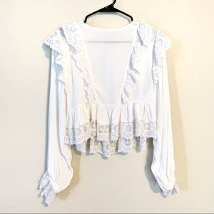 Free People Lace Ruffle Trim Romantic Blouse
